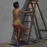 Jon Corballis - A step up - framed - 55x55cm