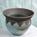 Rowena Williams - Vase (Blue, Black) Broad - Raku